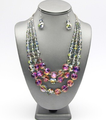 Layered Glasss Beaded Necklace Set