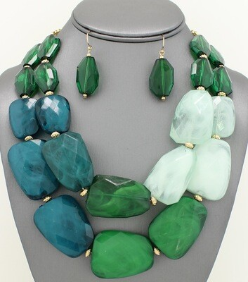 Multi-strand Facet Marbelized Acrylic Stone Necklace Set