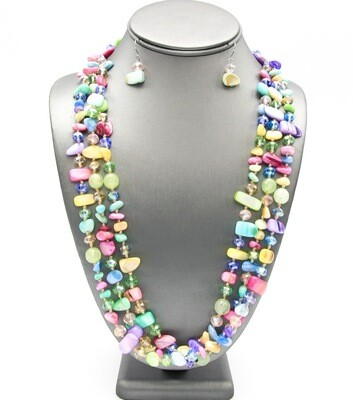 Natural Shell Beaded Layered Necklace Set