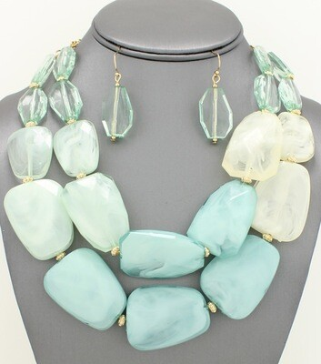 Multi-strand Statement Facet Acrylic Stone Necklace Set