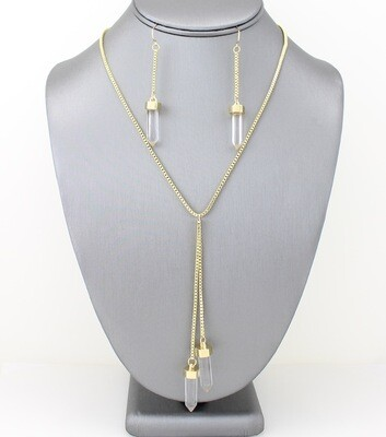 Long Stone Pendant Necklace Set