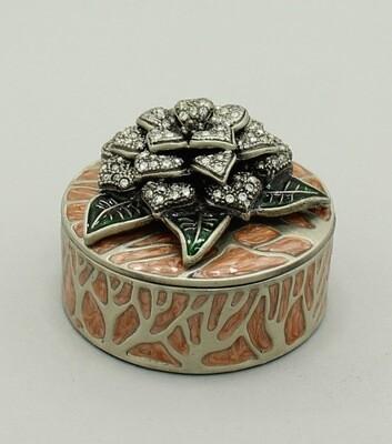Deco Enamel and Crystal Flower Jewelry Box