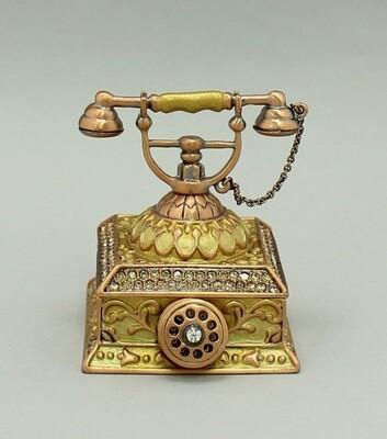 Enamel Deco Antique Telephone Trinket Box