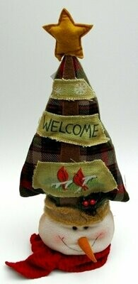 Fabric Burlap Stuffed Snowman Head with Tree Shape Door Stop