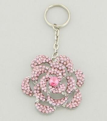 Pink Crystal Rose Keychain Bag Charm