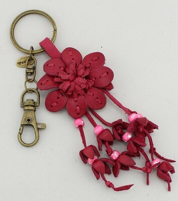 Handmade Stiched Leather Flower Bag Charm