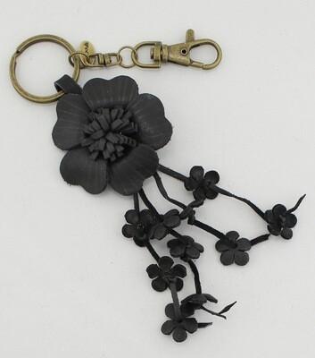 Handmade Leather Flower Bag Charm
