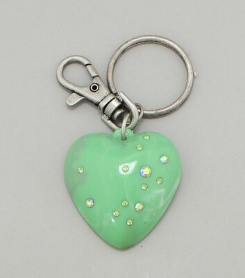 Marbleized Heart Key Chain / Bag Charm
