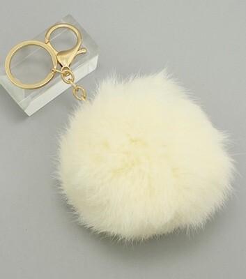 Ivory Rabbit Fur Pom Pom Bag Charm