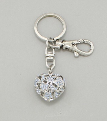 Filigree Crystal Heart Key Chain / Bag Charm