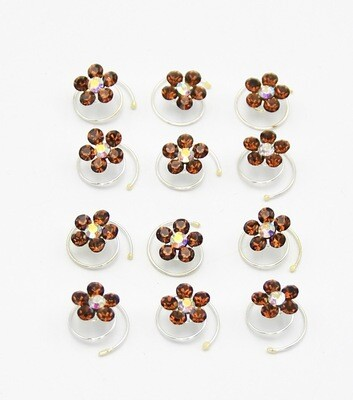 Twelve (12) Piece Set Crystal Flower Twist Coil Hair Pins