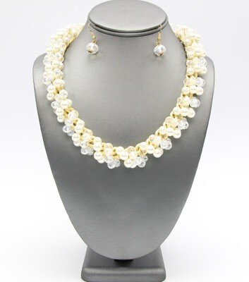 Glass and Pearl Beaded Collar Necklace Set