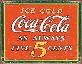 Tin Sign Coke 5c Always