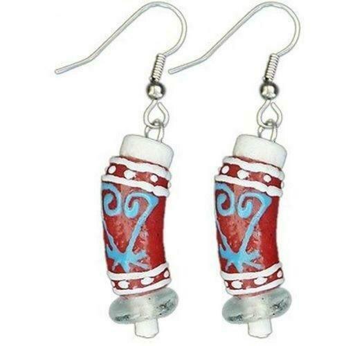 Recycled Glass Adinkra-Sankofa Earrings in Red - Global Mamas
