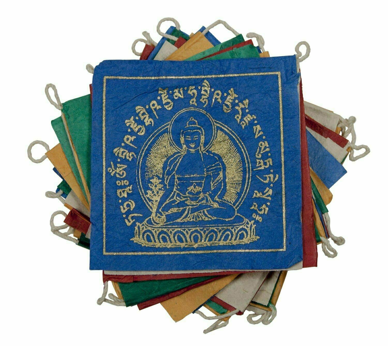 Paper Prayer Flag: 8 ft Medicine Buddha - Tibet Collection