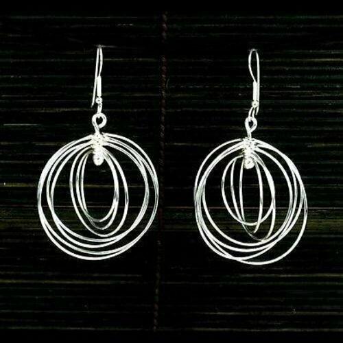 Large Silverplated Seven Circles Earrings - Artisana