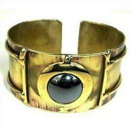 Shine On Hematite Cuff - Brass Images (C)