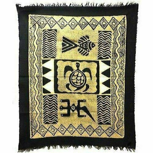 Three Creatures Batik in Black/White - Tonga Textiles
