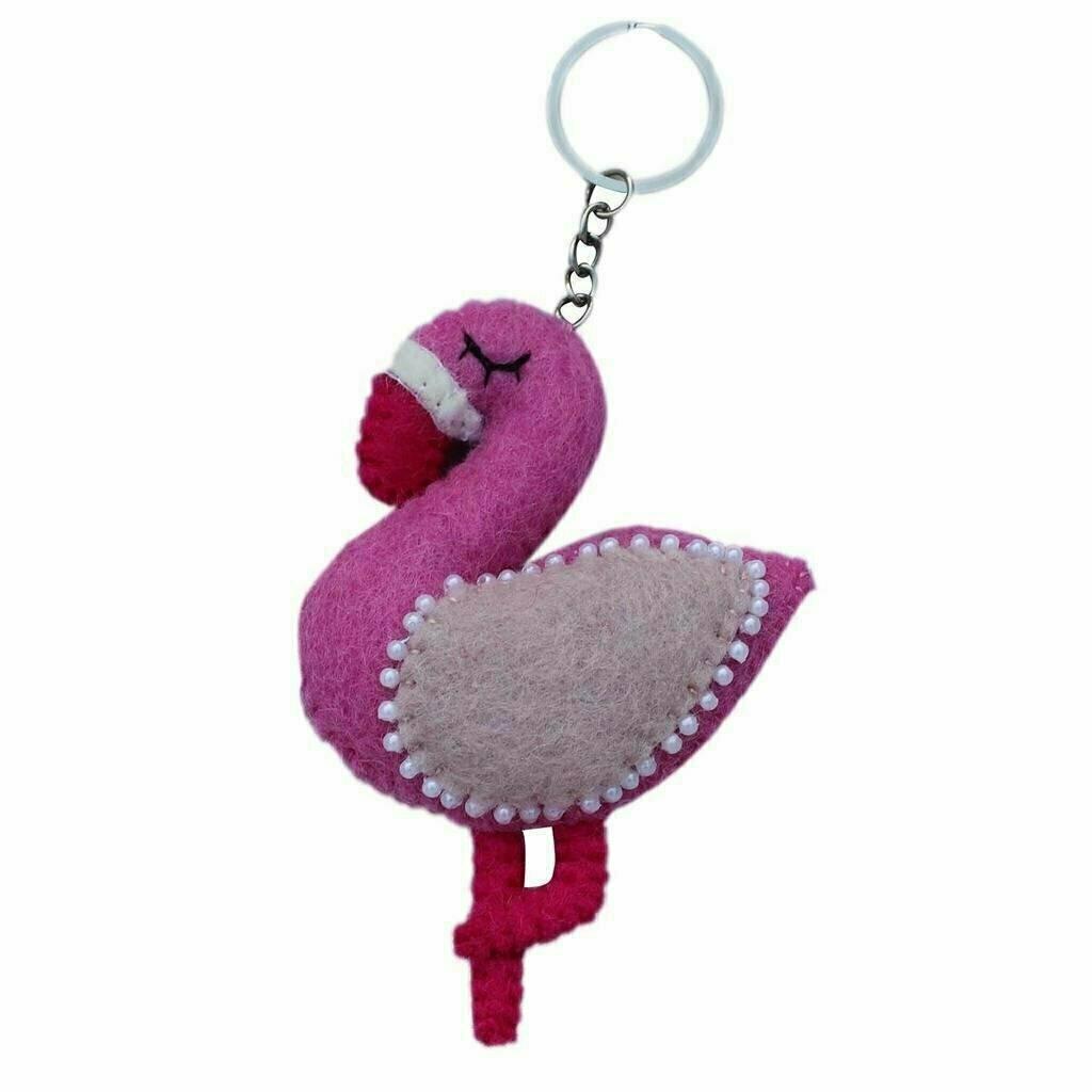 Felt Flamingo Key Chain - Global Groove (A)