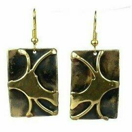 Handcrafted Burst of Energy Earrings - Brass Images (E)