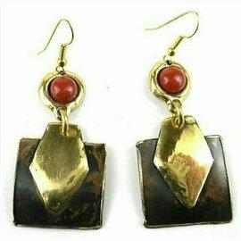 Red Jasper Brass Earrings - Brass Images (E)