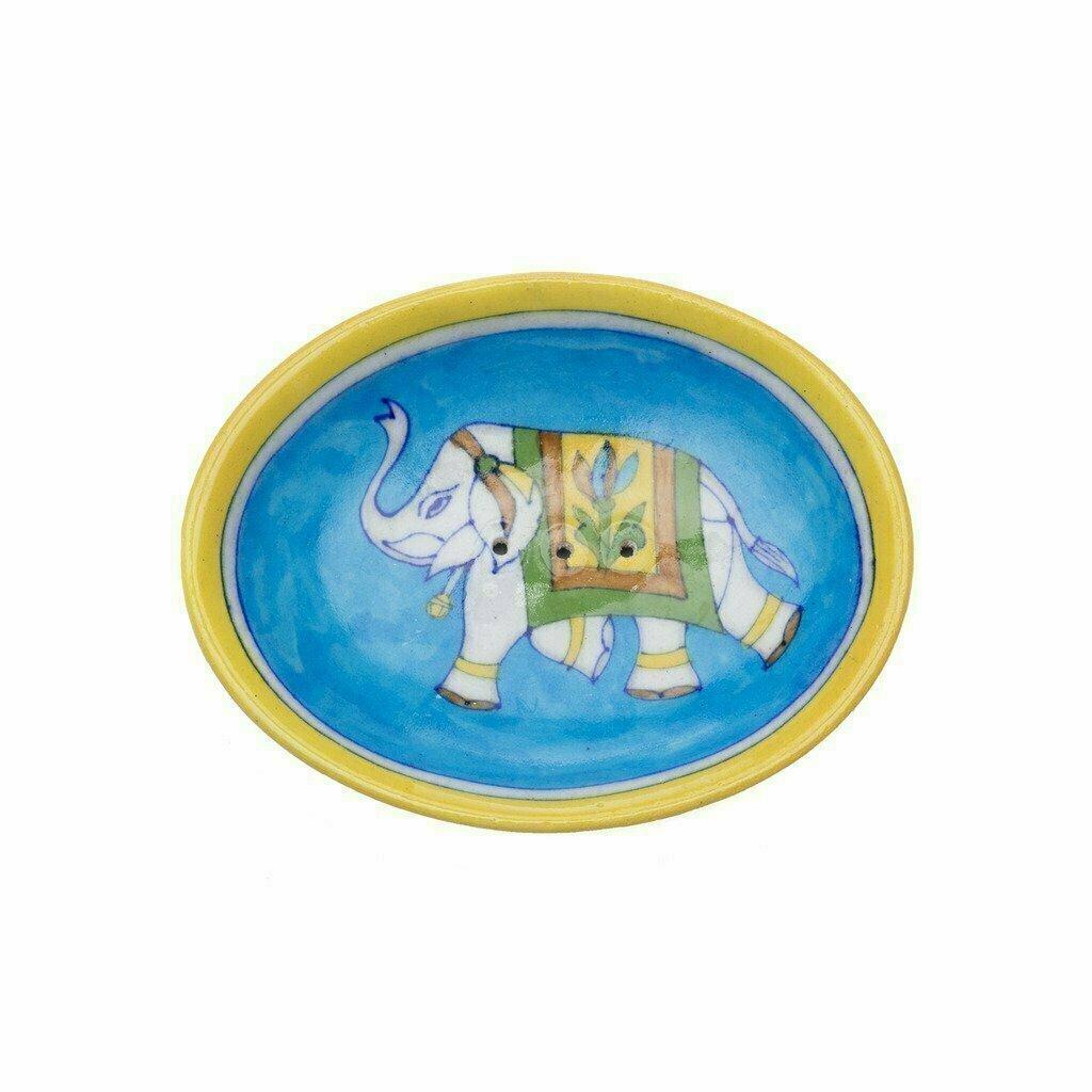 Blue Pottery Elephant Soap Dish - Turquoise - Matr Boomie (Pottery)