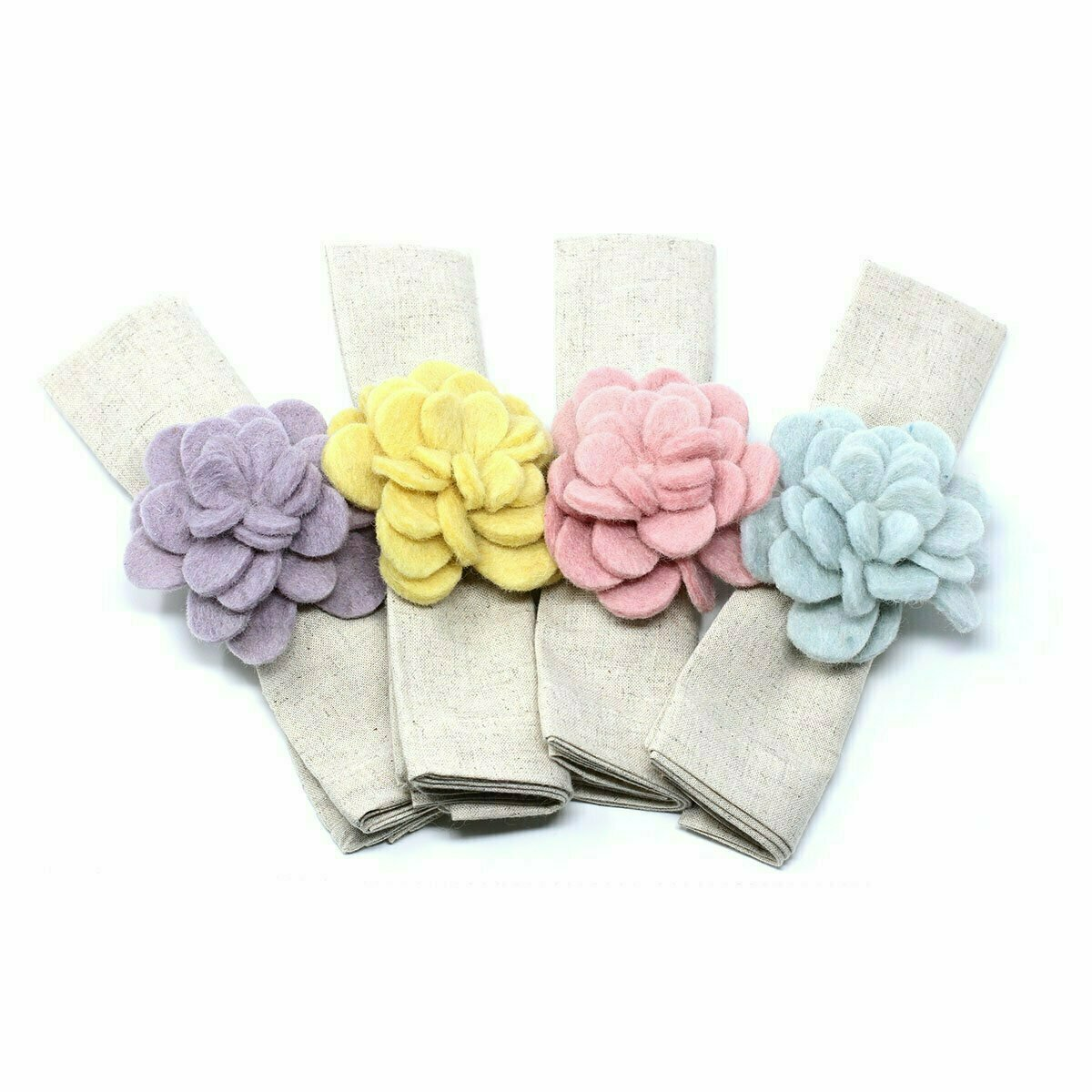 Hand-felted Zinnia Napkin Rings, Set of Four Colors - Global Groove (T)