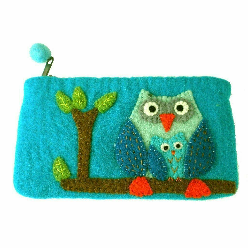 Handmade Felt Blue Owl Clutch - Global Groove (P)