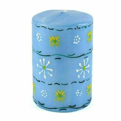 Hand Painted Candles in Blue Masika Design (pillar) - Nobunto