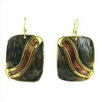 Red Wave Copper and Brass Earrings - Brass Images (E)