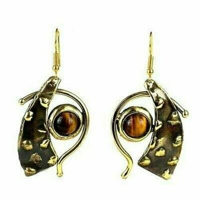 Tucked Tiger Eye Brass Earrings - Brass Images (E)