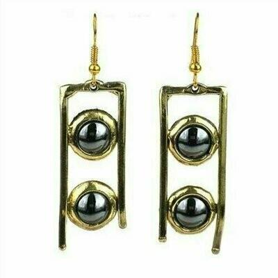 Hematite and Brass Ladder Earrings - Brass Images (E)