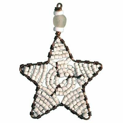 Beaded Star Ornament White - Global Mamas (H)