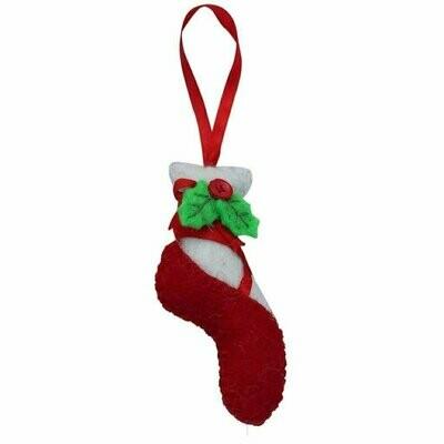 Red Ballet Slipper Felt Ornament - Global Groove (H)