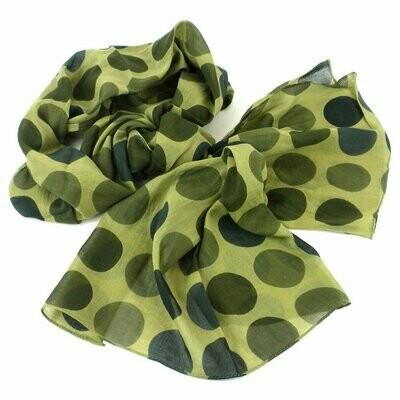 Olive Polka Dots Cotton Scarf - Asha Handicrafts