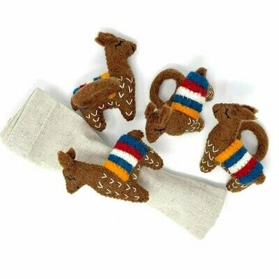 Llama Napkin Rings, Set of Four Chocolate - Global Groove (T)