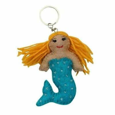 Blue Felt Mermaid Key Chain - Global Groove (A)