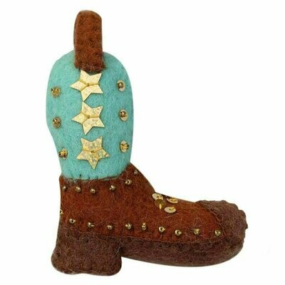 Cowgirl Boot Felt Ornament - Global Groove (H)