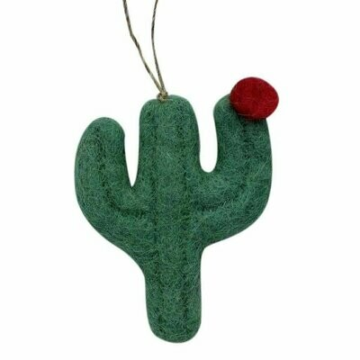 Cactus Felt Ornament in Flat Design (Green Color) - Global Groove (H)