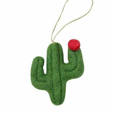Cactus Felt Ornament in Flat Design (Sage Color) - Global Groove (H)