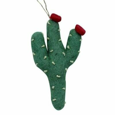 Heart Cactus with Orange Flower Felt Ornament (Sage Color) - Global Groove (H)