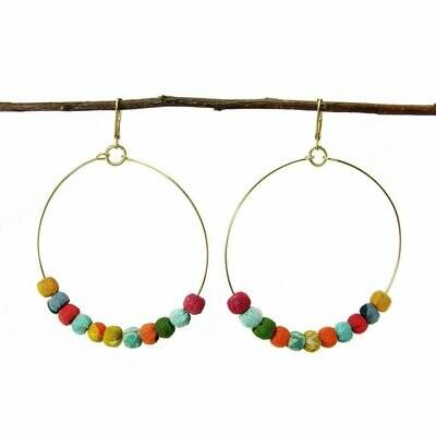 Kantha Beaded Hoop Earrings - WorldFinds