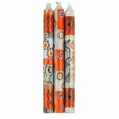 Hand Painted Candles in Kukomo Design (three tapers) - Nobunto