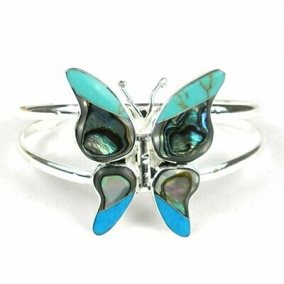 Turquoise Mosiac Alpaca Silver Butterfly Bracelet - Small - Artisana