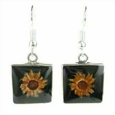 Small Square Nahua Flower and Alpaca Silver Earrings - Artisana