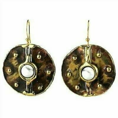 Howlite Brass Disk Earrings - Brass Images (E)