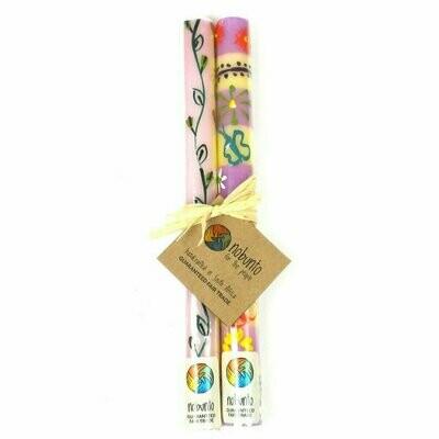 Tall Hand Painted Candles - Pair -Imbali Design - Nobunto