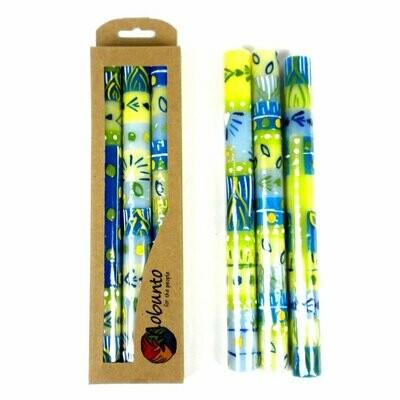 Tall Hand Painted Candles - Three in Box - Ihlobo Design - Nobunto