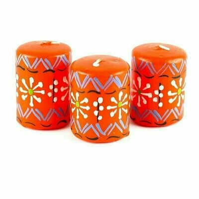 Hand Painted Candles in Orange Masika Design (box of three) - Nobunto