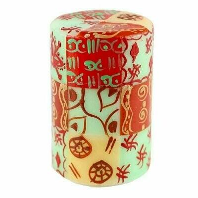 Hand Painted Candles in Owoduni Design (pillar) - Nobunto